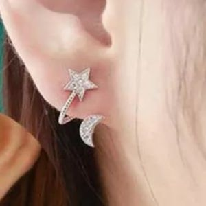 ❤️gorgeous rhinestone silver star and moon earring
